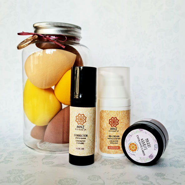 caja esponjas + corrector + bb cream + exfoliante