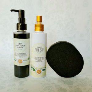 Pack anti acne carbon + arbol de te + esponja carbon